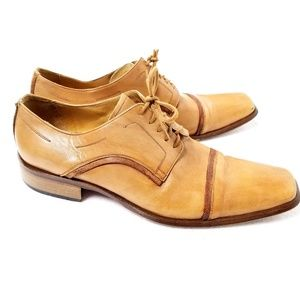 Ramano Firenze Mens Leather Tan Lace Oxford Shoes